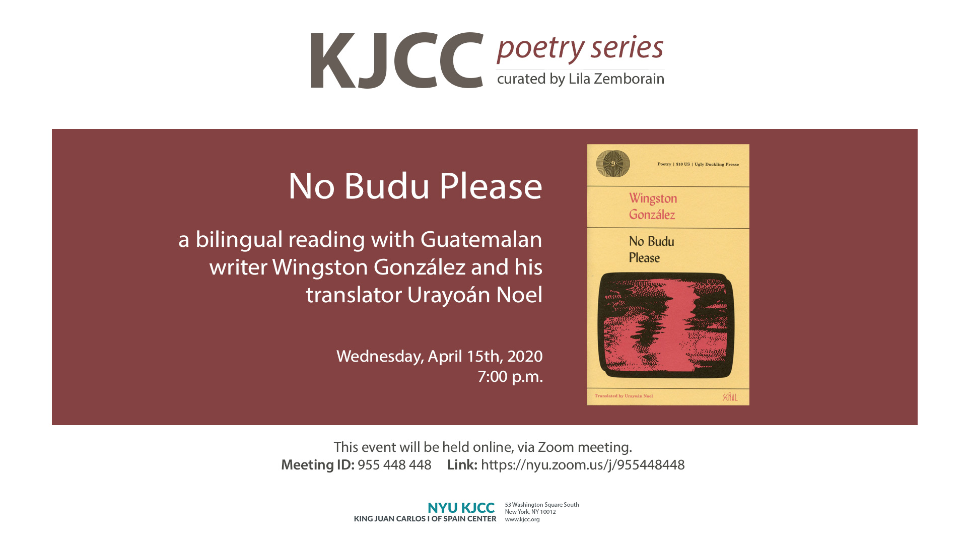 Image from Online Event | KJCC Poetry Series | No Budu Please, a bilingual reading with Wingston González and Urayoán Noel